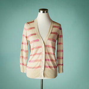 Loft S Beige Pink Stripe Linen Blend Cardigan NWT